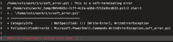 PowerShell didn't return a zero exit code
