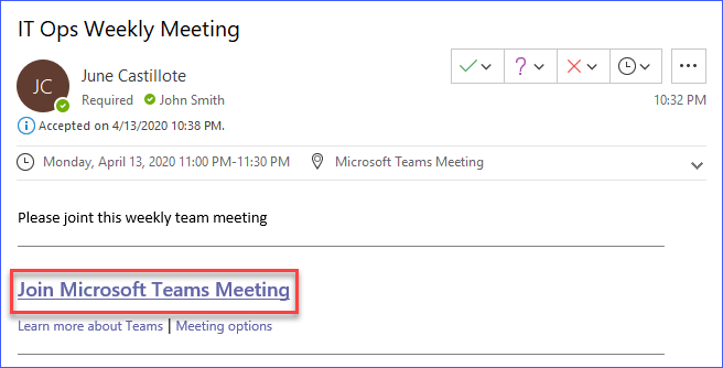 Email invite containing the link to the Microsoft Teams meeting