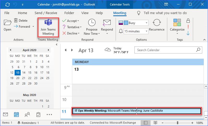 Team Meeting Invite in Outlook Calendar