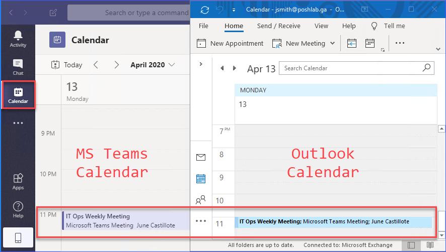 Teams and Outlook calendar views