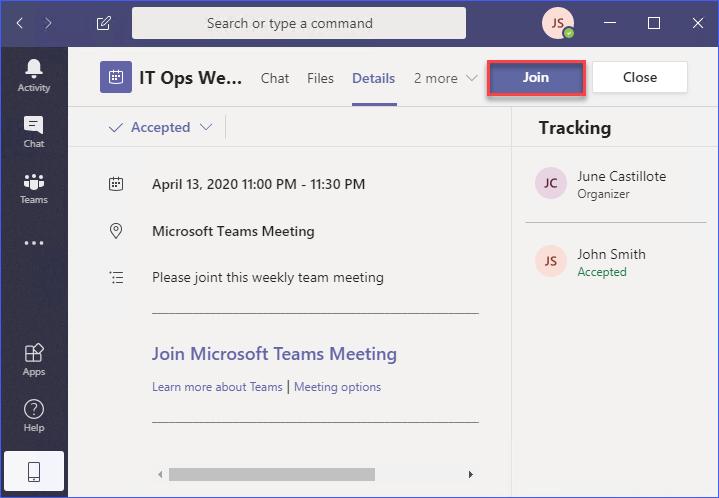 Teams meeting details in the Teams app calendar