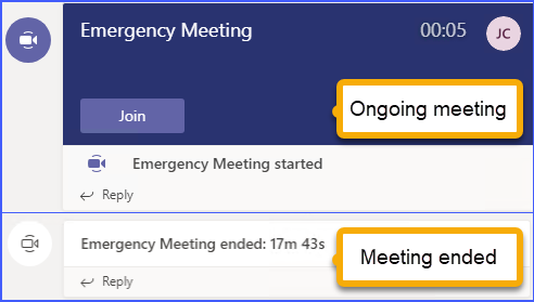 Channel meeting: Ongoing meeting vs. meeting ended