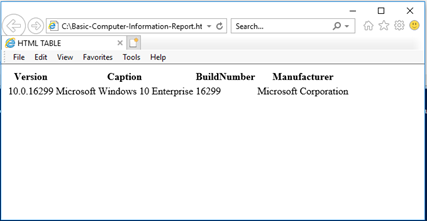 HTML report viewed in a web browser