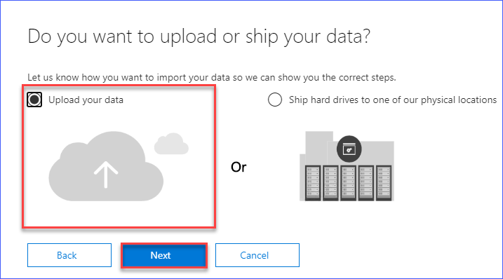 Select the option to upload your data
