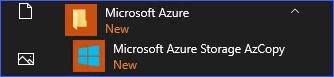 Microsoft Azure Storage AzCopy menu item