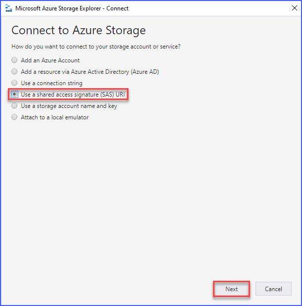 Select Use a shared access signature (SAS) URI