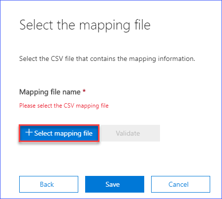 Click on Select mapping file