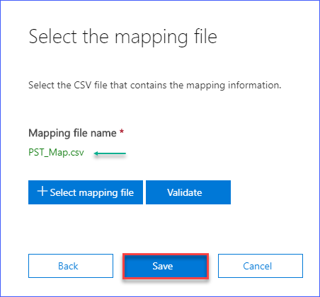 Save the mapping file