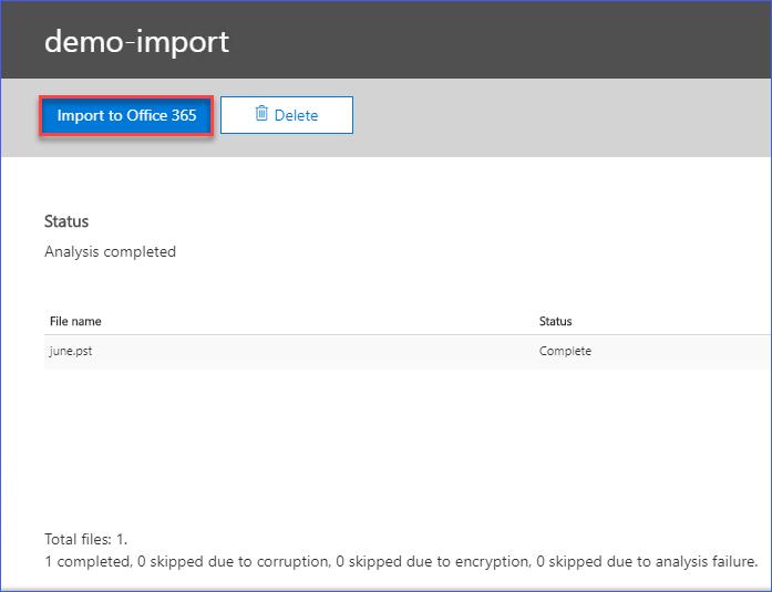 Start the PST import job