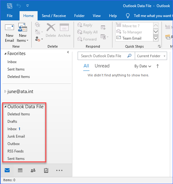 PST has been attached to the Outlook profile