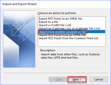 Select the option to Import from another program of file
