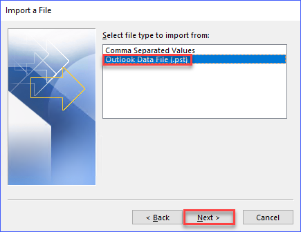Select the option Outlook Data File (.pst)