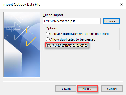 Select the option Do not import duplicates