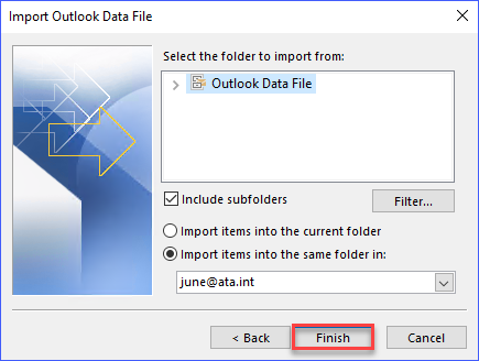 Select import options