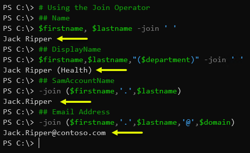 Using the PowerShell Join Operator
