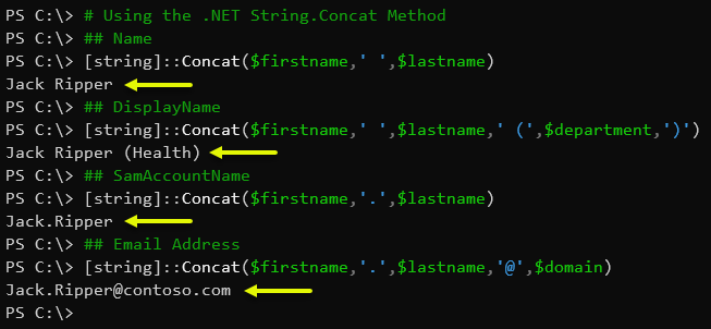 Using the .NET String.Concat Method