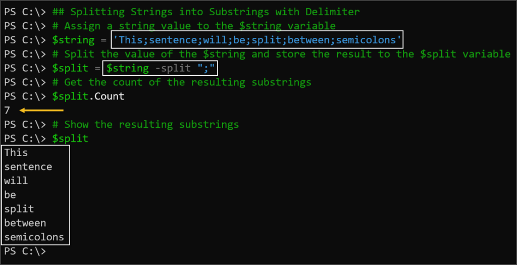 Splitting a String into Substrings with Character Delimiter