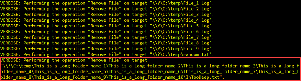 Deleted the file with a long path name