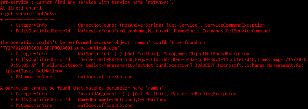 Example of errors in PowerShell