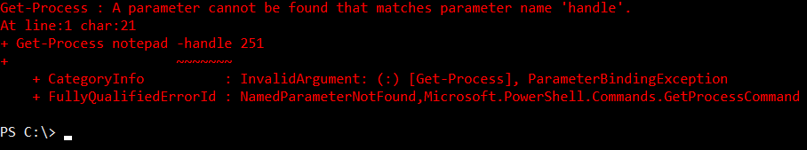 Error is thrown because the parameter is invalid
