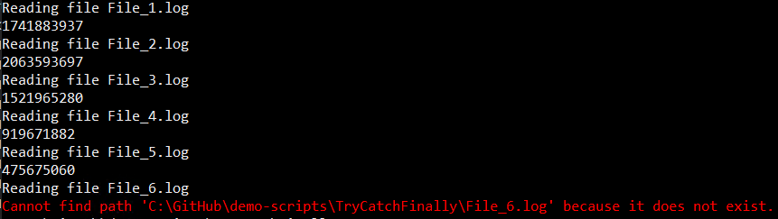 Script terminated with a descriptive error message