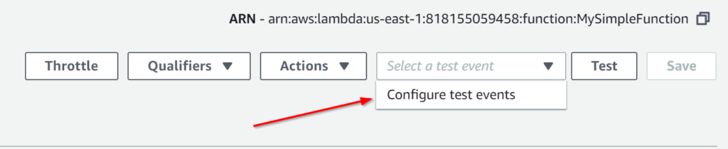Configuring test events