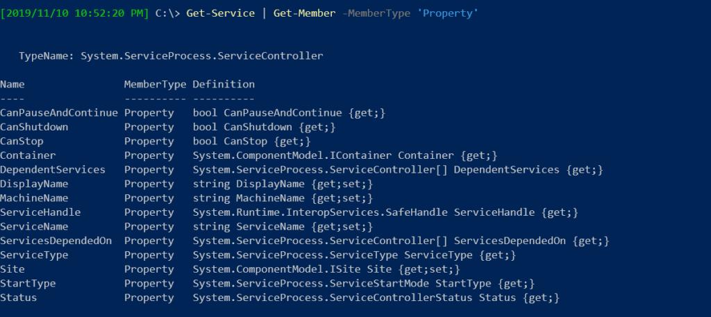 Get-Service object properties