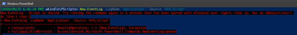 Creating a Windows event log source with PowerShell