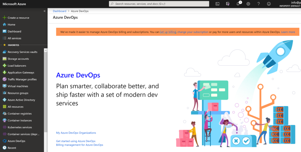 Azure DevOps dashboard