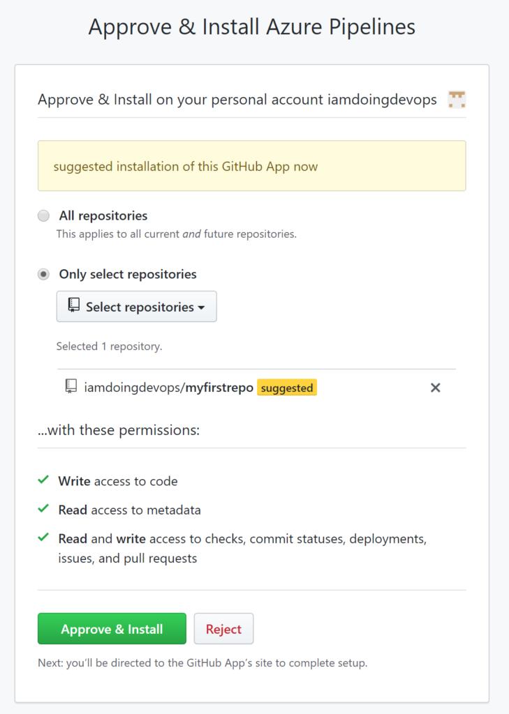 Confirm Azure DevOps Github integration