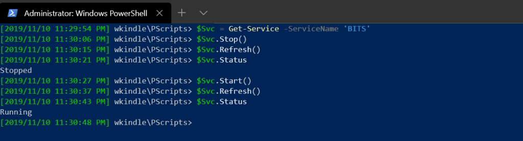 Executing methods on the service object