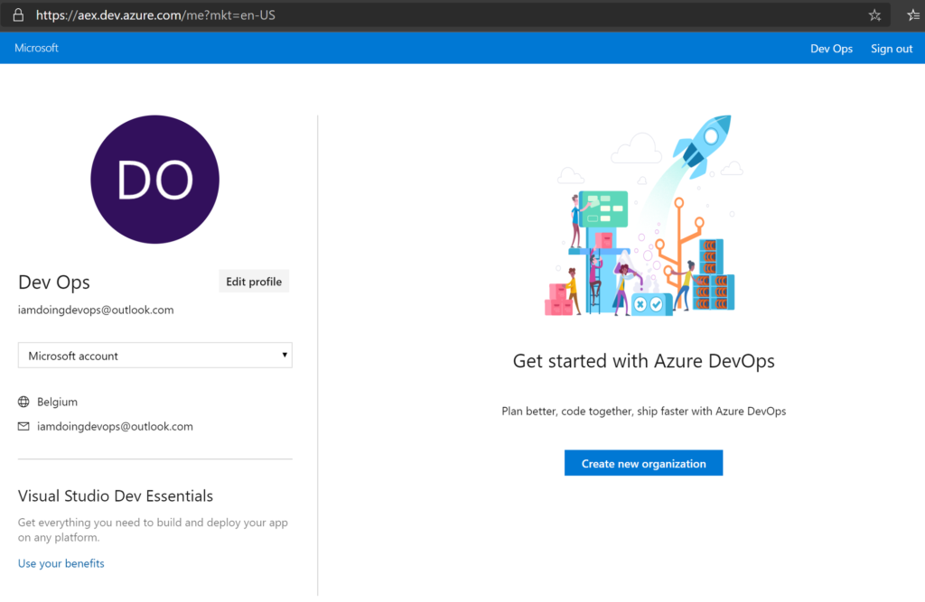 Create new Azure DevOps organization page