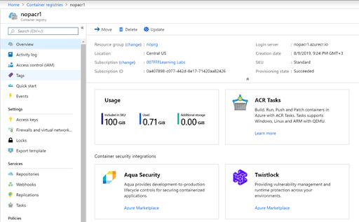 Inspecting ACR instance in Azure portal