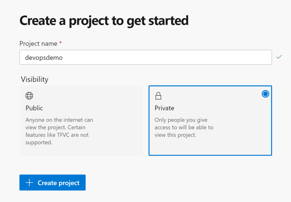 Azure DevOps project creation page