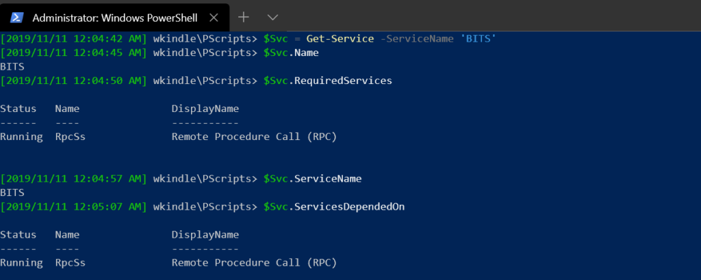 Properties on the BITS service object