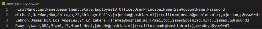 CSV file containing new employees information for on-boarding