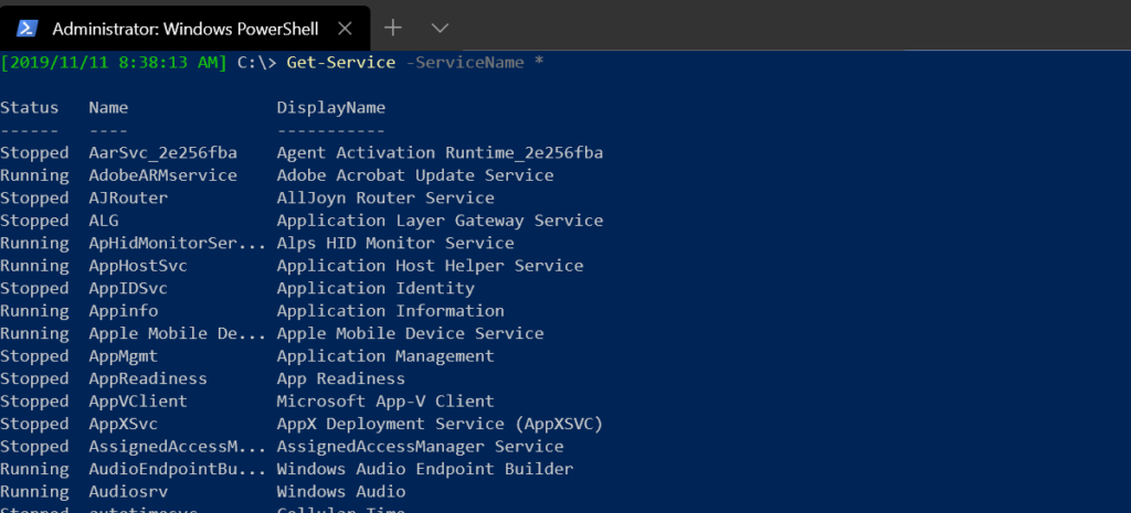 Using a wildcard on ServiceName parameter