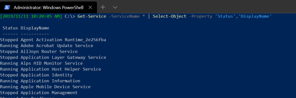 Showing the Status and DisplayName properties