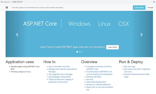 Sample ASP.NET Core webpage