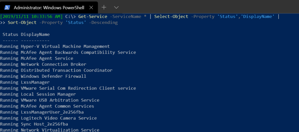Using Sort-Object to sort service objects by Status in descending order