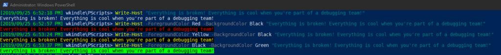 Write-Host to send output