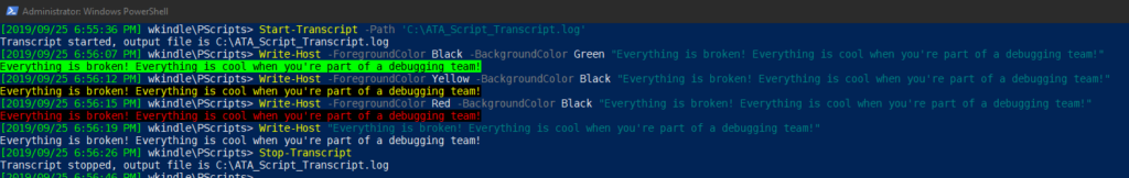 Starting and stopping a PowerShell transcript