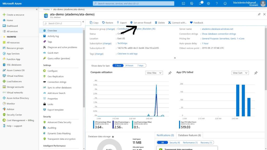 Setting an Azure SQL Server firewall rule