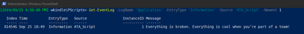 Querying an event log with PowerShell