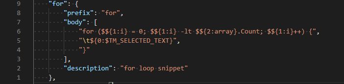Example snippet definition of the For statement