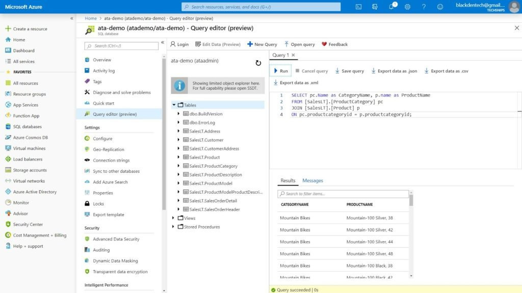 Querying the Azure SQL server database