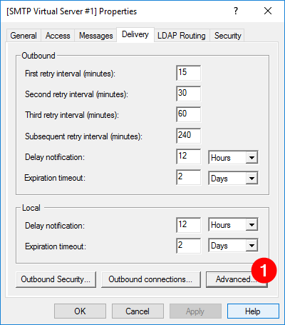 Clicking Advanced button on Delivery tab