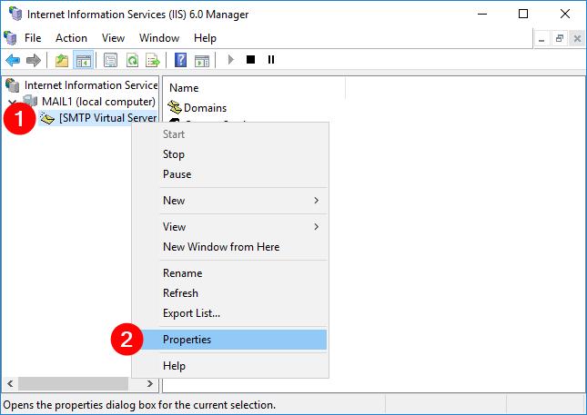 Checking SMTP Virtual Server properties