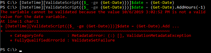 Date parameter validation failure