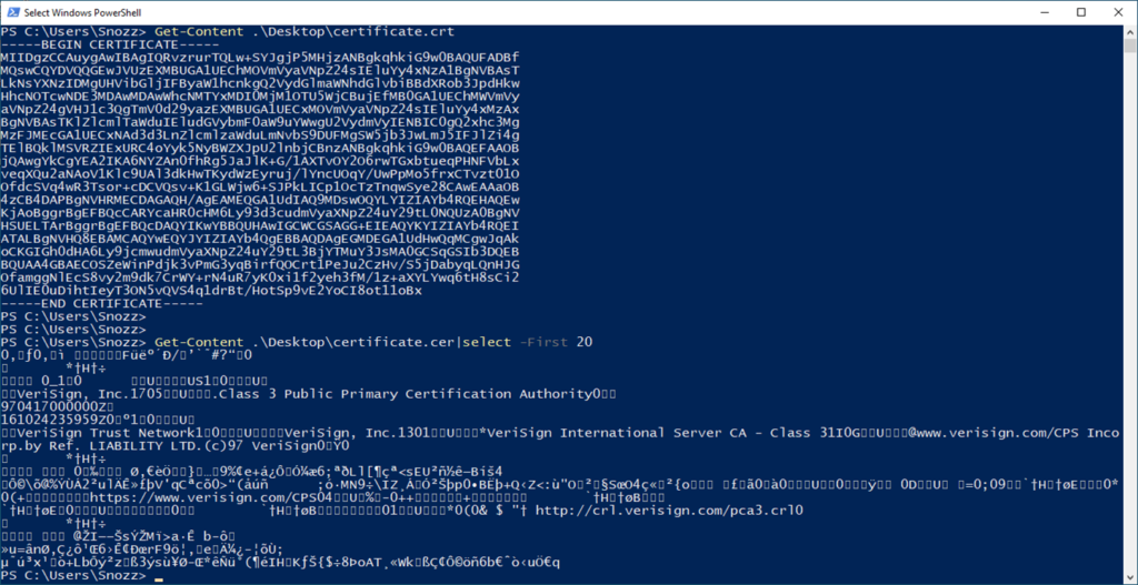 DER-encoded certificate shown in PowerShell